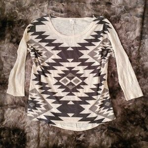 Aztec Tribal 3/4th Sleeve Top
